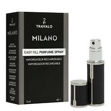 Travalo MILANO BLACK – 5 ML profumo-ATOMIZZATORE portato elegante metallo + ECOPELLE riferimento