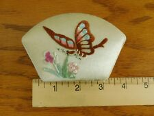 Vintage Keepsake Jewelry Trinket Embroidered Butterfly Silk Covered Silk Lined
