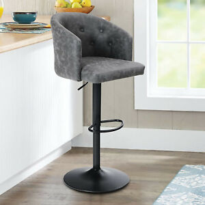 Bar Stool Swivel Adjustable Counter Height Chairs with Back Dining Barstool Gray