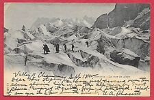 Vintage Alps Chamonix - La mey de glace Postcard J.J. 5446 Postmarked 1900