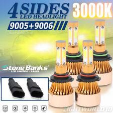 New listing 4-Sided 3000K 9005+9006 Led Headlight Bulbs Hi+Lo Beam Yellow Light 72W 800000Lm