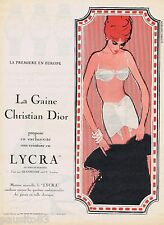 PUBLICITE ADVERTISING 115  1961  CHRISTIAN DIOR   S. V soutien gorge RENE GRUAU