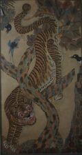 Old Antique Korean MinHwa Folk Hand Painting Tiger & Birds on Jangji
