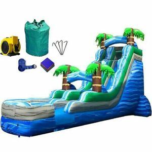 Water Slide Commercial Inflatable Blow Up Waterslide With Blower 18 ft Tropical