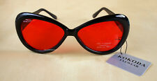 KOKODA RED LENS BLACK FRAME SUNGLASSES+ POUCH -NEW WITH TAGS *SHIPS FROM SYDNEY*