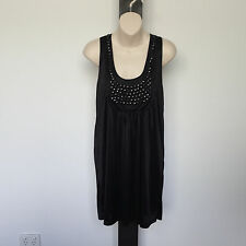 'DOTTI' EC SIZE '12' BLACK SLEEVELESS LINEDSCOOP NECK DRESS WITH BLACK BEADING