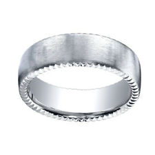 18k White Gold 7.5mm Comfort Fit Rivet Coin Edging Carved Band Ring Sz 5