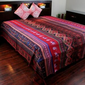 Kalamkari Print Cotton Tapestry Bedspread Throw Queen 106 x 106 inches Red