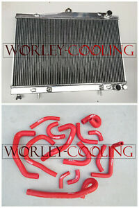 Radiator + RED hose for Nissan Pintara/Skyline R33/ R34 AT/MT with sensor hole