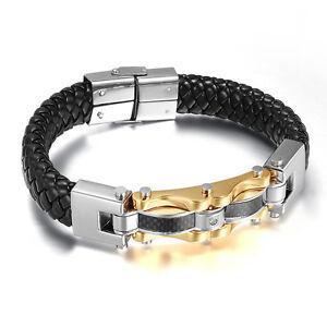 Men's Titanium Steel Braided Real Leather Bracelet Wristband Bangle Gold Cuff