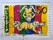 Helvetica-Switzerland stamps - Clowns At The Trapeze - 1992 50c FREE P & P