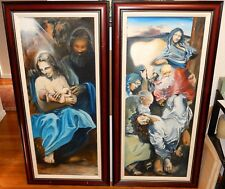 PAIR OF HUGE ORIGINAL OIL ON WOOD LIFE AND DEATH OF JESUS PAINTINGS SIGNED CALIF