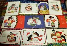 10 Assorted Ruth Morehead Christmas Greeting Cards with Cute SNOWMAN Lot C