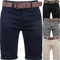 Mens Crosshatch Chino Shorts Cotton Belted Half Pant Cargo Combat Free Belt