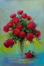 """fine art, """"Bouquet of Roses""""  Oil  original painting. artist  V. Shurganov"""