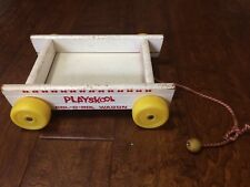 Vintage Wood PLAYSKOOL COL-O-ROL WAGON replacement pull toy yellow wheels red