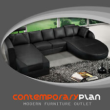 Ultra Contemporary All Black Italian Leather Sectional Sofa with Curved Chaise