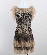 Red Valentino Tan Mesh Black Beaded & Sequin Detail Ruffled Dress Size 2