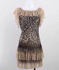 Red Valentino Tan Mesh Black Beaded & Sequin Detail Ruffled Dress Size 2