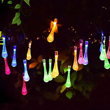 Solalite Multi Color 24ft 20 LED Icicle Lights Solar Powered Raindrop Garden