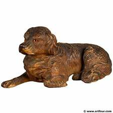 a black forest carved staghound inkwell