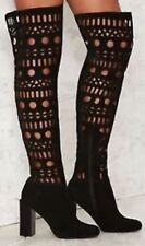 New $400 Jeffrey Campbell Dominica Black Suede Cut Out OTK Boots Sz 6.5