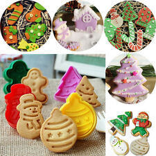 4X Snowman Fondant Cupcake Decorate Cookie Biscuit Plunger Cutter Mold Tool XMAS