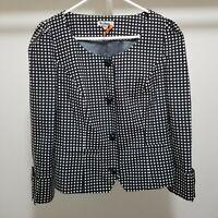 Anthropologie Taikonhu Sz 10 Well Behaved Blazer Jacket Bow Sleeve Polka Dot
