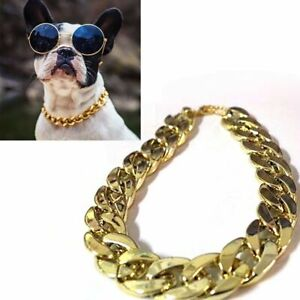 Adjustable Gold Necklace Collar Pet Chain Small Cat Dog French Bulldog Puppy