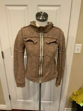 Free People Tan Floral Thick Lace Hooded Jacket, Size XS