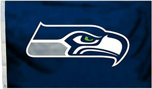 Fremont Die NFL Seattle Seahawks 3' x 5' Flag with Grommets, 3 x 5-Foot, Logo