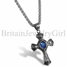 Mens Vintage Irish Christian Faith Celtic Cross Pendant Stainless Steel Necklace