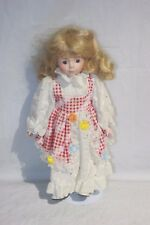 "Collectors Choice Porcelain Doll White & Red Dress 15"" (Dnt H-2) #7"
