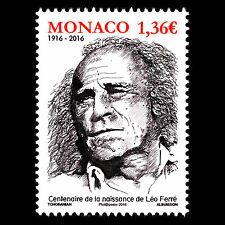 "Monaco 2016 - Birth of Léo Ferré ""1916-1993"" Composer - MNH"