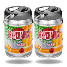 2x Desperados Tequila Bier mit Zapfhahn 5 Liter Partyfass 5,9% Festival Vip Fass