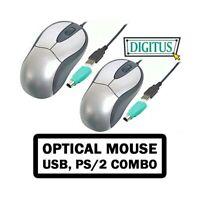 2X MOUSE OTTICO USB PS/2 COMBO DIGITUS 800DPI ERGONOMICO ALTA PRECISIONE-