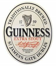 Guinness Classic English 3D Label Oval Wood Wall Art Wooden Pub Bar Sign NEW