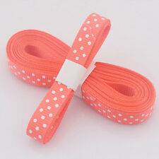 "5yds 3/8""(10 MM) Orange Christmas Ribbon Printed lovely dots Grosgrain Ribbon#"