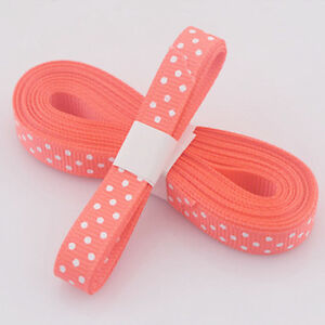 """5yds 3/8""""(10 MM) Orange Christmas Ribbon Printed lovely dots Grosgrain Ribbon"""
