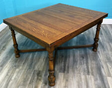 SUPERIOR QUALITY GOLDEN OAK ANTIQUE 1920S SOLID PLANKED OAK DRAWLEAF TABLE