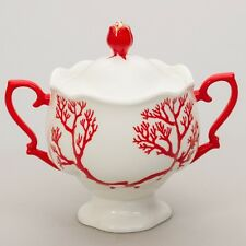 Russian Imperial Lomonosov Porcelain Sugar Bowl Coral New Authentic Flash Sale