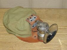 Original Vintage Soft Coal Miner's Cap Hat with Auto-Lite Mining Lantern