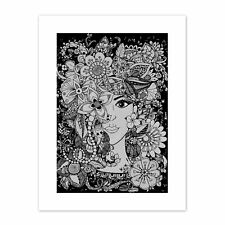 Flower Face Illustration  Print Canvas Premium Wall Decor Poster