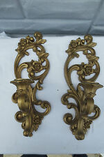 Vintage Homco Gold Swirl Rose Candle Wall Sconce Pair Hollywood Glamour Regency