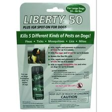 Liberty 50 flea drops, Ticks, Mosquitoes, Lice, Mites, for 33-66# dogs 3 pack