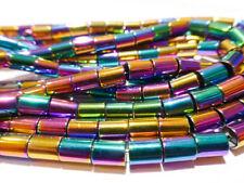 Pretty Rainbow Hematite Tube Column Beads 6mm x 4mm - 1 Strand (approx 65 Beads)