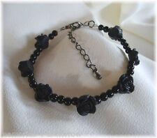 Black Rose Bracelet, Gothic, Steampunk - with wild vine gift card