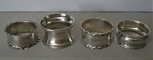 Collection of Four Sterling Silver British Hallmarked Napkin Rings