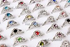 Fashion 50pcs Wholesale Jewelry Mixed Lots Women's Silver Plated Rhinestone Ring