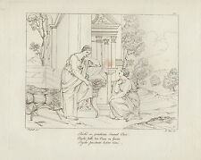 1805 Raffaello incisione in acciaio Psichè prostata davanti a Ceres